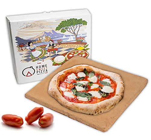 RPRRBE Pizzastein in Ton und hochwertigem Lavasand. Pizza stein für Backofen und Grill.