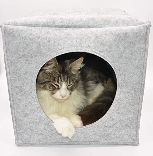 LaWiLo GmbH Cat Cube, Katzenhöhle, Kuschelhöhle, Katzenhaus, Katzenbett, Rückzugsort für Katzen. Mit Kissen. Passt auch in z. B. IKEA Regalsysteme