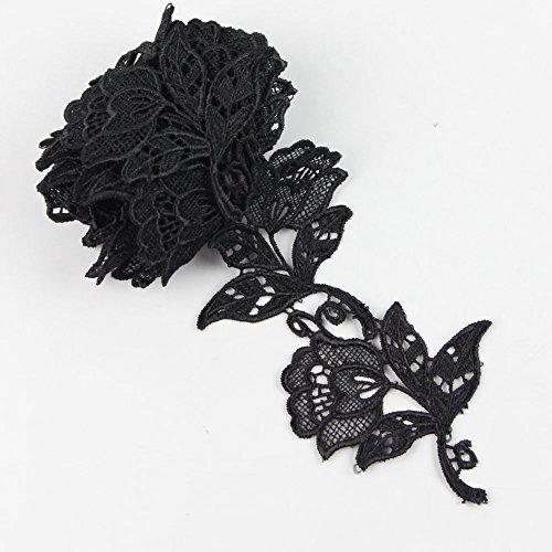 2 Yd environ 1.83 m noir à coudre fleur de bordures en dentelle net Ruban Tissu Polyester Venise Artisanat