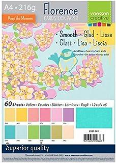 Vaessen Creative Florence Papier Cartonné, Couleurs Printemps, 216g, A4, 12x5 Feuilles, Surface Lisse, pour Peindre, Scrap...