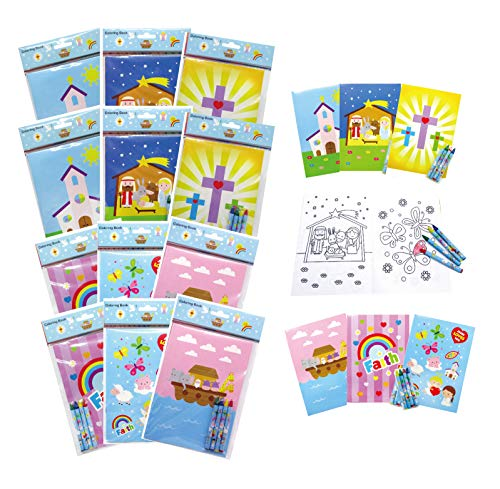 TINYMILLS Christian Religious Coloring Book Set for Kids Party Favors with 12 Coloring Books and 48 Crayons Birthday Party Supplies Favor Bag Filler Sunday School VBS Rewards Religious Prizes