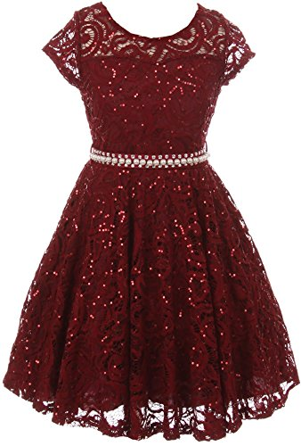 BNY Corner Big Girl Cap Sleeve Floral Lace Glitter Pearl Holiday Party Flower Girl Dress Burgundy 12 JKS 2102
