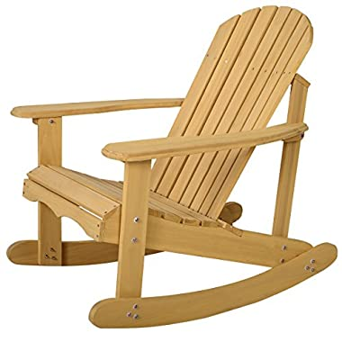 Giantex Adirondack Chair Outdoor Natural Fir Wood Rocking Chair Patio Deck Garden Furniture