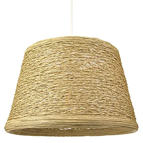 Sombra de luz colgante de mimbre de mimbre marrón claro tejida fina tradicional por Happy Homewares