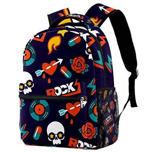 Funky Rock Skull Pattern Backpack for Teens School Book Bags Travel Casual Daypack