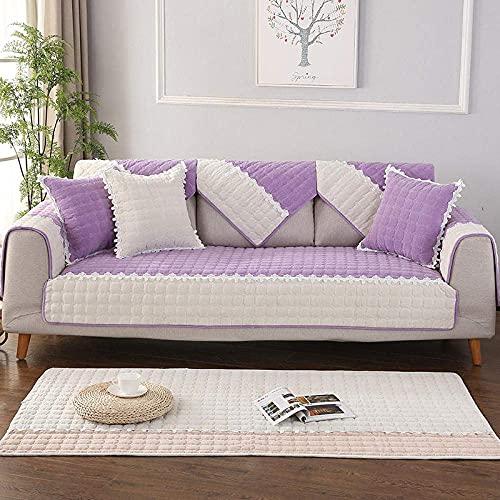 L.TSA Protector Antideslizante para Muebles, cojín de Felpa para sofá de Cuatro Estaciones, Funda de cojín para sofá de Tela-Purple_90 * 240CM, Protector para Muebles de Tela elástica