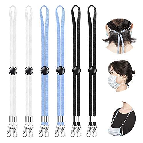 6 Stück Maskenband für Mundschutz, Einschließlich Schwarzer/Weißer/Blauer Maskenkette Lanyard, für Maskenkette Einstellbar Kinder/Damen/Männer