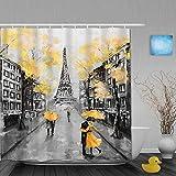 YiiHaanBuy Cortina de baño Repelente al Agua,Pintura Al Óleo París Ciudad Europea Paisaje Francia Torre Eiffel Diseño Blanco Negro,Cortinas de baño de poliéster de diseño 3D con 12 Ganchos