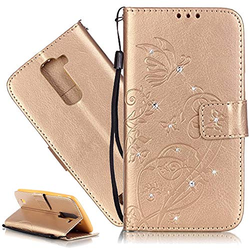 ISADENSER LG K7 Case, LG Tribute 5 Case, Embossed PU Leather Flip Wallet Cases Slim Folio Case with Card Slots for LG K7 + 1pcs Tempered Glass Screen + 1pcs Stylus Pen (Diamonds Gold)
