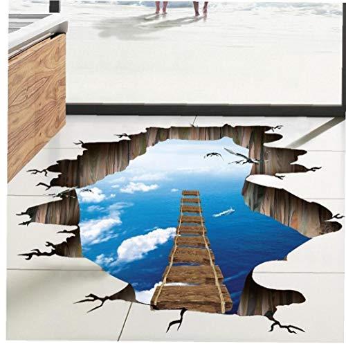 Puente Levadizo del Piso Pegatinas Etiqueta De La Pared del Piso del Puente Etiqueta Decoración del Hogar del Papel Pintado para Piso Adhesivos De Pared Decoración para Hogar