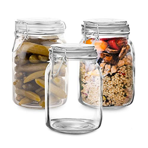 Set of 3 Glass Mason Jar with Lid (1 Liter) | Airtight Glass Storage Container for Food, Flour, Pasta, Coffee, Candy, Dog Treats, Snacks & More | Glass Organization Canisters | 34 Ounces