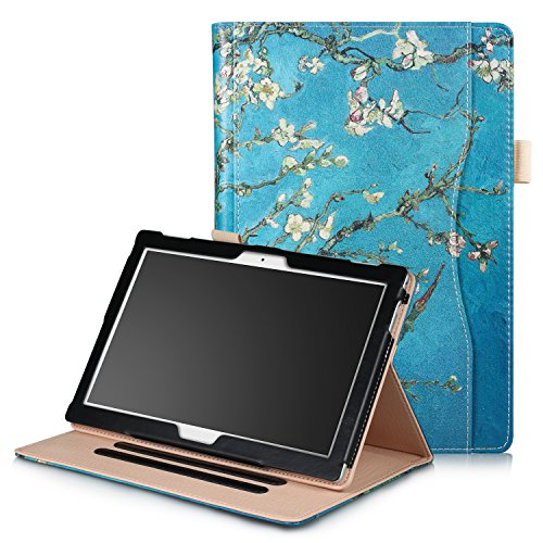 Xuanbeier Hülle Multifunktional Kompatibel mit Lenovo Tab4 10/Tab 4 10 Plus/Tab E10 TB-X104 10.1Zoll Tablette mit Multi-Winkel & Handhalter, Blume