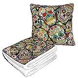 Manta de almohada de terciopelo suave, 2 en 1 con bolsa suave, funda de almohada para collage de calavera de azúcar para casa, avión, coche, viajes, películas