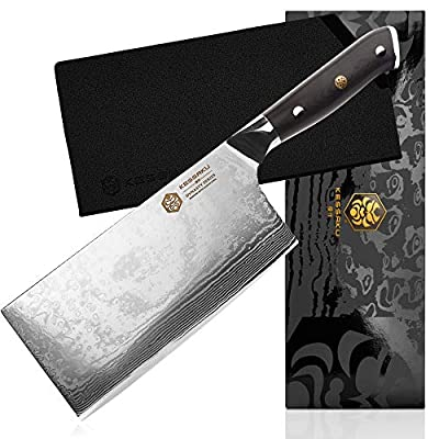 Kessaku Cleaver Butcher Knife - Damascus Dynasty Series - 67-Layer AUS-10V Japanese Steel - G10 Full Tang Handle, 7-Inch