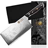 Kessaku 7-Inch Cleaver Butcher Knife - Damascus Dynasty Series - Forged 67-Layer AUS-10V Japanese Steel - G10 Full Tang Handle with Blade Guard