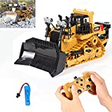 Remote Control Construction Toy, Remote Control Bulldozer Toys Car 9 Channel 1:24 Hobby RC Trucks Caterpillar Aluminum Alloy Rc Front Loader 4WD for 4-15 Years Old Boys Kids Gift (Plastic Bulldozer)