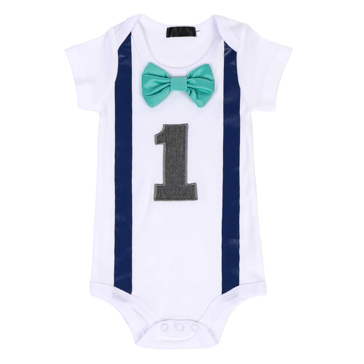 FYMNSI Infant Baby Boy 1st First Birthday Outfit Gentlemen Romper Short Sleeve Bow Tie Bodysuit Playsuit One-Piece Jumpsuit One Year Old Cake Smash Outfit Wedding Party Suit Photography Photo Props