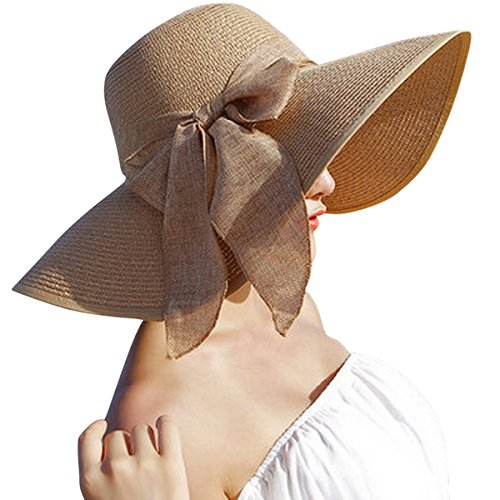 Lanzom Womens Big Bowknot Straw Hat Floppy Foldable Roll up Beach Cap...
