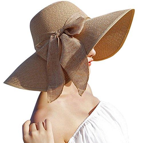 Lanzom Womens 5.5 Inches Big Bowknot Straw Hat Large Floppy Foldable Roll up Beach Cap Sun Hat UPF 50+ (Khaki)