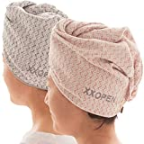 XXOPEN Microfiber Hair Towel for Curly Hair plopping Hair Towel Wrap for Women Long Hair Anti Frizz 2 Packs (M1016-2pcs)