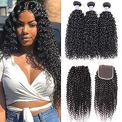 powerful Virgin Sambar Curly Hair Bundle with 10A Closure Untreated Brazilian Virgin Human Hair 3…