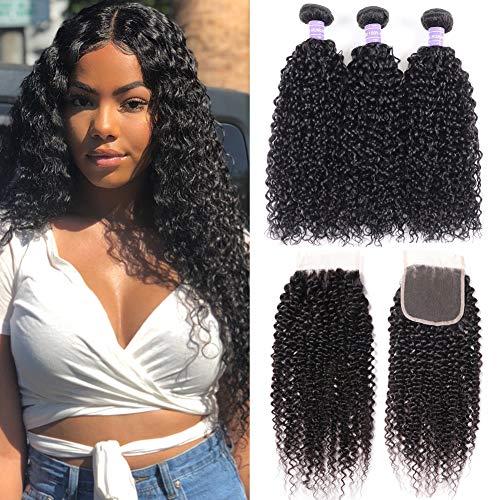 Sunber Virgin Curly Hair Bundles with Closure 10A Unprocessed Virgin Brazilian Human Hair Weave 3 Bundles Kinkys Curly Hair Bundles With Closure (20 22 24+16free Part Lace Closure)