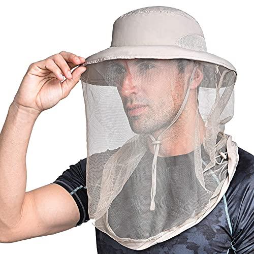 Zanzariera testa netta giungla protezione viso maschera anti-zanzara secchio cappello Midge cappello con rete rete per donna/uomo, Design arricchito (kaki), M