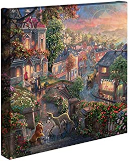 Thomas Kinkade Lady and The Tramp 14x14 Canvas Wrap