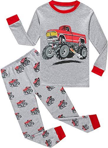 EULLA Jungen Schlafanzug Dinosaurier Baumwolle Lange Nachtwäsche Kinder Pyjama G-Traktor Gr.92