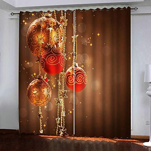 ANAZOZ 2 Paneles Cortinas Salon Cortinas Poliester Habitacion Bolas de Decoración Navideña Marrón Oro Cortina Dormitorio Tamaño 264x160CM