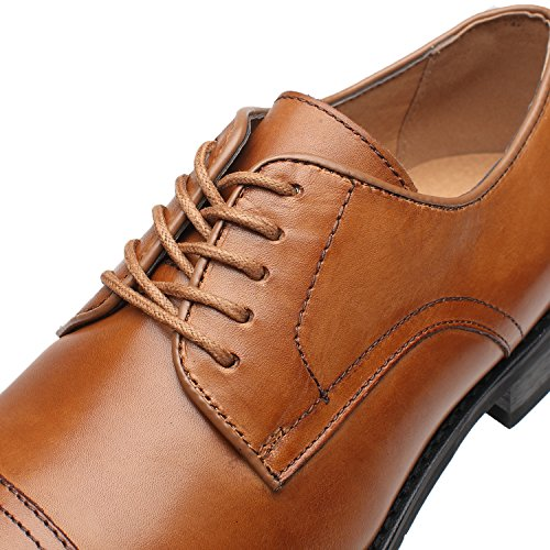 La Milano Mens Leather Updated Classic Cap Toe Oxfords Lace Dress Shoes; Size-7.5; Color-Cognac