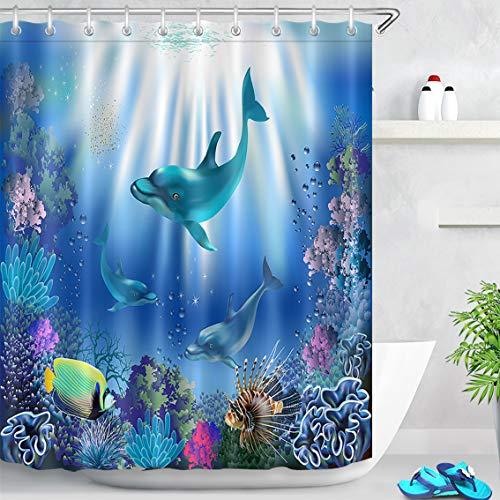 LB 150x180cm Duschvorhang Lustige Delphin Fisch im Blauen Ozean Polyester Wasserdicht Antischimmel Badezimmer Gardinen mit 10 Haken,Unterwasserwelt für Kinder