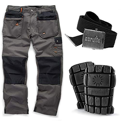 Scruffs Worker Plus Work Trousers with Knee Pads and Black Clip Belt