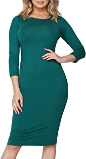 Women's 3/4 Sleeve Bodycon Midi Dress Crew Neck Fitted Dresses with Plus Size Options