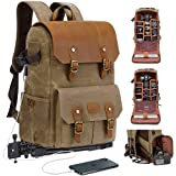 """JAEP Waxed Canvas Camera Backpack – Water Resistant bag with 15.6"""" laptop sleeve (Khaki)"""