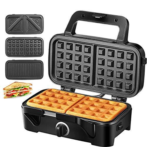 Sandwichmaker Waffeleisen Sandwichtoaster 1200W Temperaturregelung mit 3 Abnehmbare Platten für...