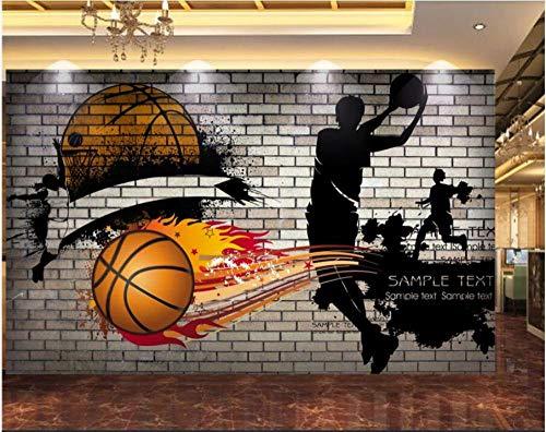 3D No tejido Papel tapiz fotográfico 150(W)X105(H) cm Graffiti de jugador de baloncesto de pared de ladrillo Murales Papel Pintado para Decoración de Paredes de Dormitorio y Salón