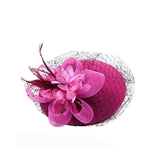 ZUMUii ZUMUii Butterme Pillbox Hut Weinlese Wolle Cocktail Haar Klipp mit Schleifen Schleife Fascinator Partei Hochzeits Retro Spitzenhut für Damen Frauen (Heißes Rosa)