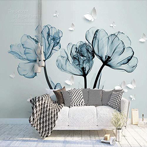 Papel pintado fotográfico 3D Fantasía 3D Flores Azules Salón Fondo Decoración Pared Pintura Papel pintado mural-400280cm