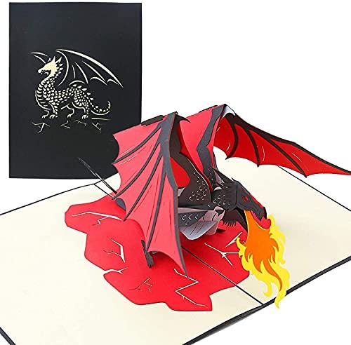 PopLife Cards La tarjeta emergente del día de los padres del dragón de la respiración del fuego para todas las ocasiones el día del padre, feliz cumpleaños, consigue bien, graduación, criatura