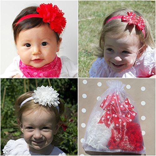 QueenMee Lot de 3 bandeaux rouges pour bébé Motif pois Rouge
