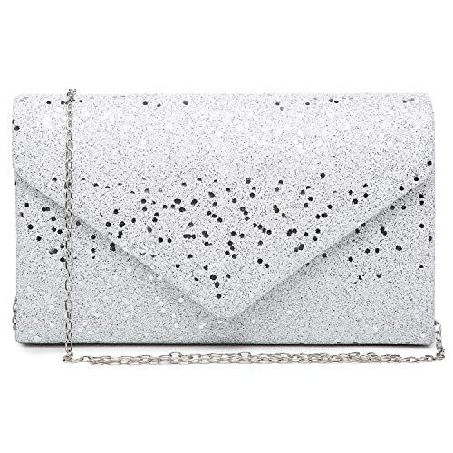 Women Glistening Evening Clutch Bags Formal Party Clutches Wedding Purses Cocktail Prom Clutches White Silver Hardware