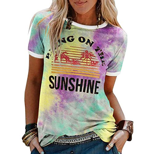 DREAMING-Spring And Summer Tie-dye Women's Top Casual Loose Pullover Undershirt Coconut Tree Pattern Printing Round Neck Short-sleeved T-shirt Small Purple Yellow