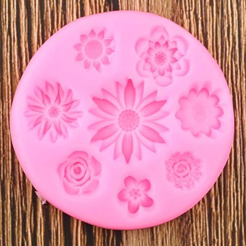 N /A Gänseblümchen Rose Mohn Blume Silikonform Cupcake Topper Polymer Clay Harz Form Kuchen Dekorationswerkzeuge Praline Formen