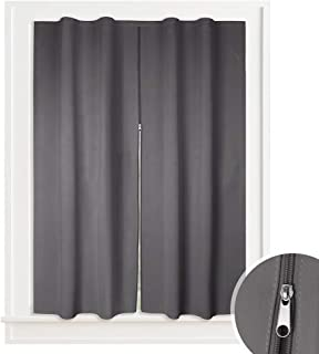 RYB HOME Portable Blackout Window Treatment Curtain for Bed & Bath, Sticky Grip Design Hanging Without Rod Kitchen Curtain Drape Includes Install Sticky Strap, 52 inches W x 54 inches L, Grey