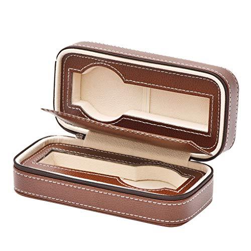 Floridivy 2 Slot rits Horloges Collection Box Travel Case PU horlogekast, ritssluiting Watches Horloge van het Leer Organizer - Brown