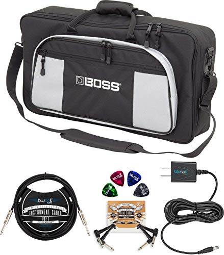BOSS Bag-L2 Large Instrument Bag for Effects Pedals and Processors Bundle with Blucoil Slim 9V Power Supply AC Adapter, 10-FT Straight Instrument Cable (1/4in), 2x Patch Cables, and 4x Guitar Picks