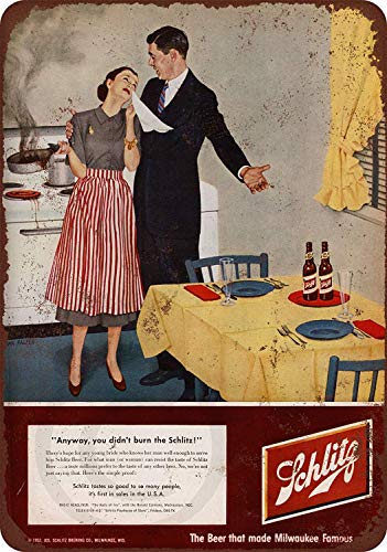 LPLED Wall Decor Sign Schlitz Beer Burned Dinner Rustic Vintage Aluminum Metal Sign 8x12 Inches (W4069)