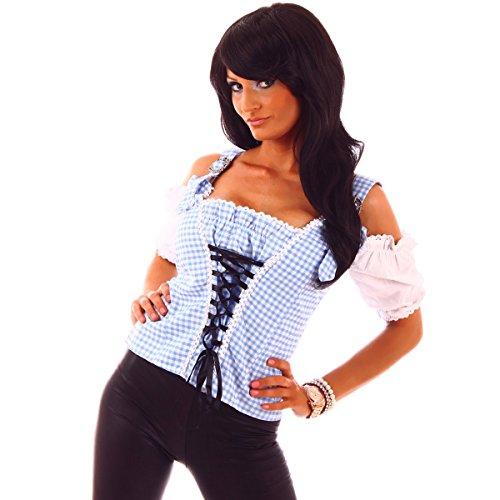 Fashion4Young 20603 Damen Dirndlbluse Bluse Trachtenbluse Trachten Oktoberfest Hemd Lederhose Dirndl (S=36, blau-Weiss)