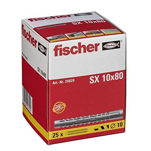 fischer Spreizdübel SX 10 x 80, Schachtel mit 25 Nylondübeln, Dübel für optimalen Halt bei Befestigungen in Beton, Hochlochziegel, Porenbeton, Vollziegel uvm.
